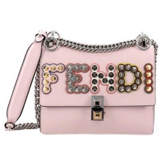 Fendi Kan I Handbag Embellished Applique Leather Small