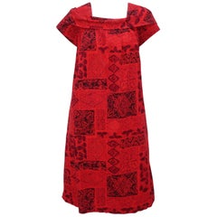 Hawaiian Red & Black Tiki Tribal Print Muumuu Dress, 1950's