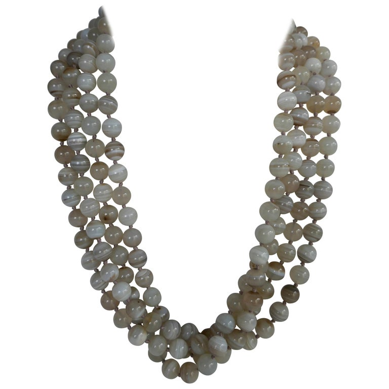 Multi Strand Banded Agate 925 Sterling Silver Necklace For Sale