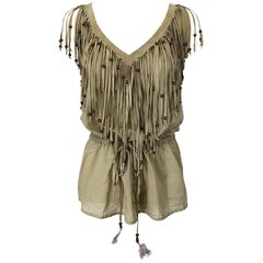 Amazing 1990s Dolce & Gabbana Khaki / Brown Cotton and Suede Beaded Boho Blouse