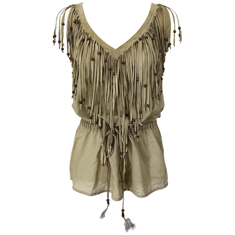 Amazing 1990s Dolce & Gabbana Khaki / Brown Cotton and Suede Beaded Boho Blouse For Sale