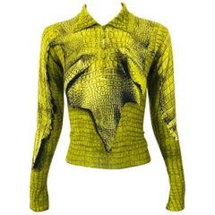 John Galliano 1990s Trompe L'Oeil Cashmere Chartreuse Green Gator Print Sweater