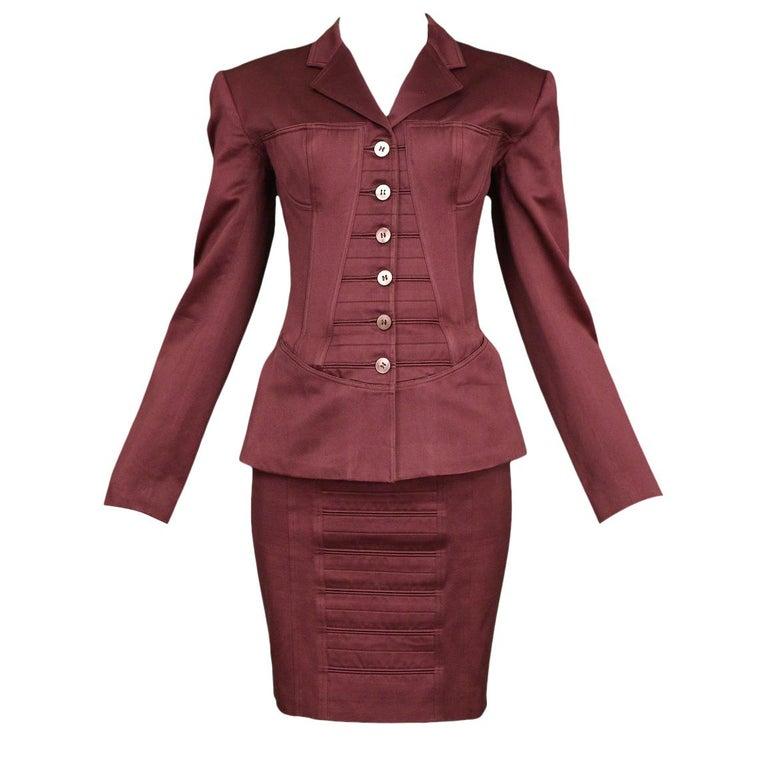 Vintage Alaia Burgundy Corset Skirt Suit 1992 For Sale