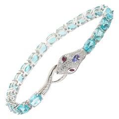 Exotic Sterling Gemstone Snake Bracelet-Diamond Pave,Apatite, Tanzanite & Rubies
