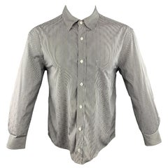 cfb0a9f2 LOUIS VUITTON Size L White & Black Stripe Cotton Button Up Long Sleeve Shirt