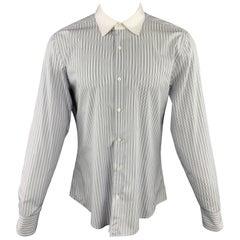 GUCCI Size XL White & Black Stripe Cotton Button Up Long Sleeve Shirt