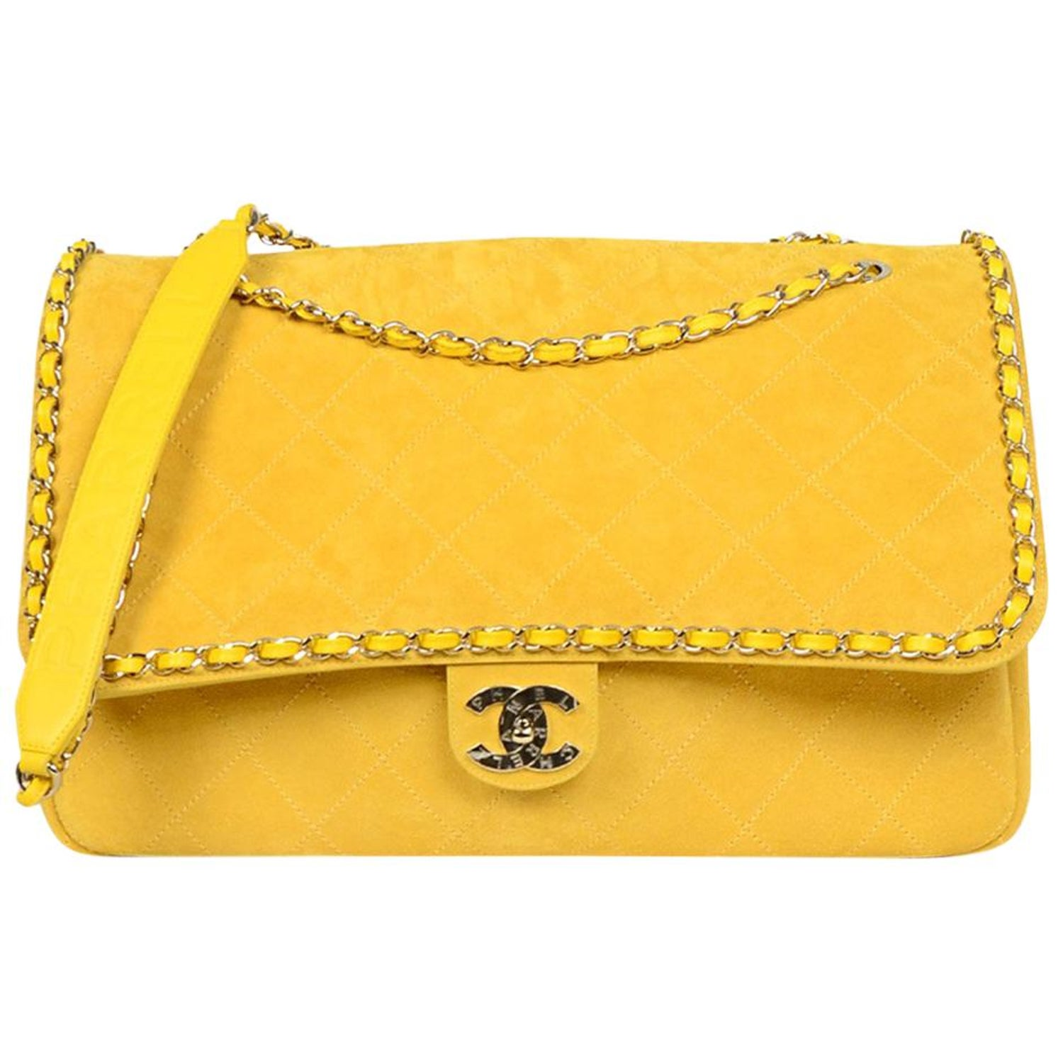 4c318c4cfa2 CHANEL x PHARRELL 2019 LIMITED EDITION Yellow Suede XXL Quilted Flap Bag  For Sale at 1stdibs