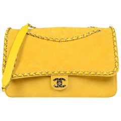 CHANEL x PHARRELL 2019 LIMITED EDITION Yellow Suede XXL Quilted Flap Bag NWT