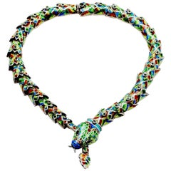 Margot de TaxcolMelesio Rodriguez Sterling Enamel Snake Necklace- Mexico