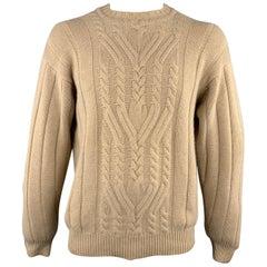 MANRICO Size L Tan Cable Cashmere Crew-Neck Sweater