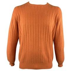 LORO PIANA Size L Orange Ribbed Cashmere Crew-Neck Sweater