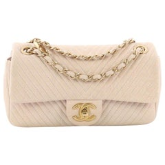 Chanel Medallion Charm Flap Bag Chevron Wrinkled Lambskin Small