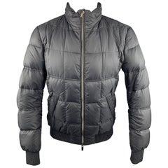 FENDI 38 Black Quilted Poliammide Zip Up Jacket