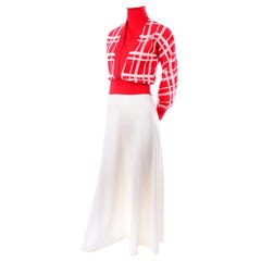 Deadstock Crissa Italy Vintage 1970s Red & White Knit Maxi Skirt and Sweater Top