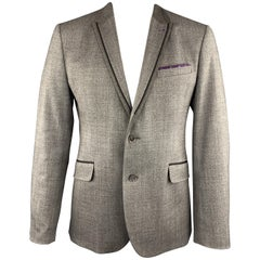TED BAKER 44 Taupe Heather Wool Blend Notch Lapel Sport Coat
