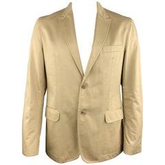 D&G by DOLCE & GABBANA 46 Khaki Solid Cotton Peak Lapel Sport Coat