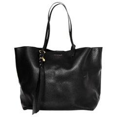 Alexander McQueen Black Leather Skull Tassel Tote Bag