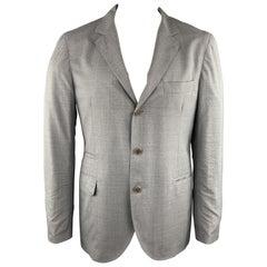 BRUNELLO CUCINELLI 44 Grey Solid Wool / Silk Notch Lapel Sport Coat