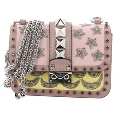 Valentino Glam Lock Shoulder Bag Embellished Leather Mini
