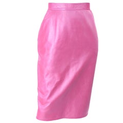 Deadstock New Vintage Ungaro Parallele Pink Metallic Leather Skirt With Tags
