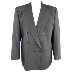 YVES SAINT LAURENT 46 Regular Dark Gray Textured Wool Peak Lapel Sport Coat