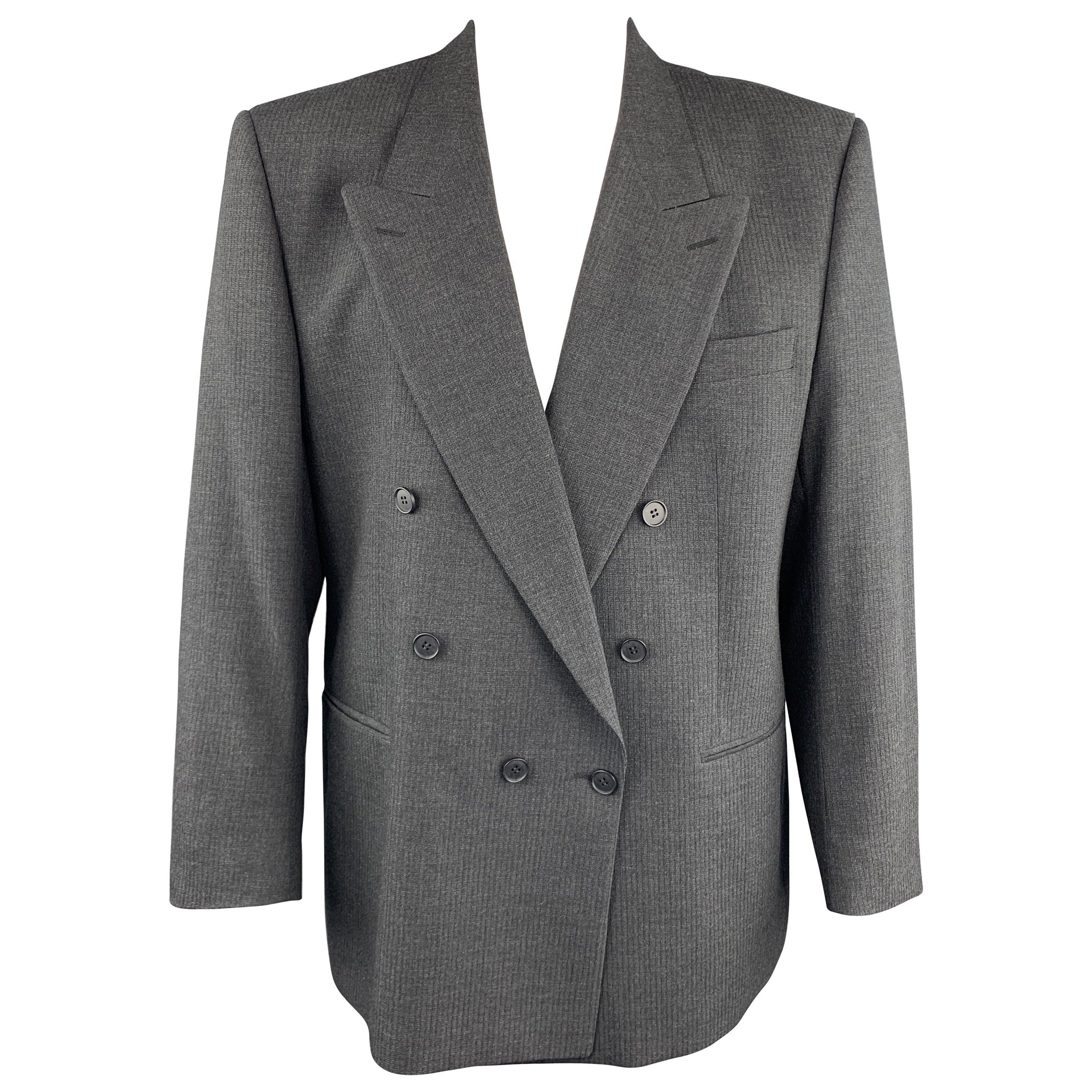 YVES SAINT LAURENT 46 Regular Dark Gray Textured Wool Peak Lapel Sport Coat