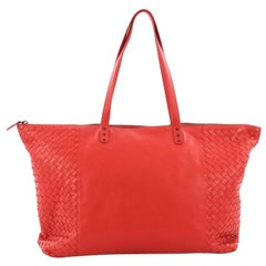 Bottega Veneta Zip Top Tote Leather with Intrecciato Detail Large