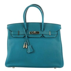 Hermes Birkin Handbag Cobalt Blue Togo with Palladium Hardware 35