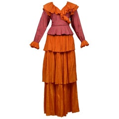 Vintage Yves Saint Laurent Orange & Pink Paisley Peasant Skirt Ensemble 1970s