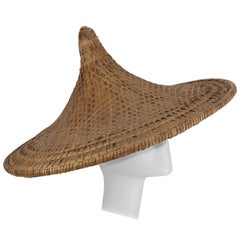 Vintage Pagoda Straw Wide Brim Beach Hat