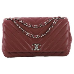 Chanel Surpique Chevron Chain Flap Bag Quilted Lambskin Medium
