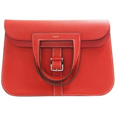 HERMES 31cm Rouge Tomate  Taurllion clemance leather Halzan Bag