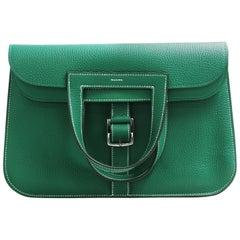Hermès 31cm Halzan Vert Vertigo Leather Tote