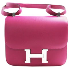 a8b8d05bcdb4 Hermès Constance 24cm Rose Pourpre Evercolor Palladium Hardware shoulder bag