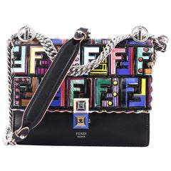 Fendi Kan I Handbag Logo Embossed Patent and Leather
