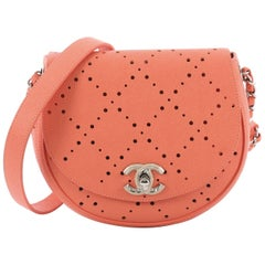 Chanel Saddle Bag Perforated Caviar