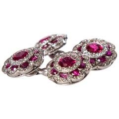 Cartier Platinum Ruby and Diamond Cufflinks
