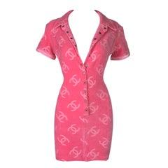 S/S 1996 Chanel Pink Logo Monogram Velvet Plunging Micro Mini Dress