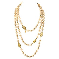CHANEL Vintage Faux Pearl Sautoir Necklace