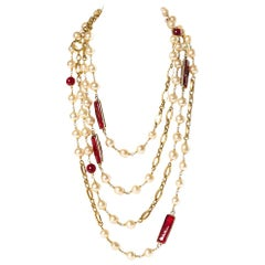 CHANEL  Vintage Red Gripoix and Faux Pearl Chain Necklace