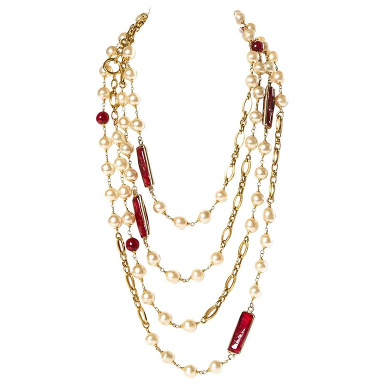 a4679c52b7350 CHANEL Vintage Red Gripoix and Faux Pearl Chain Necklace
