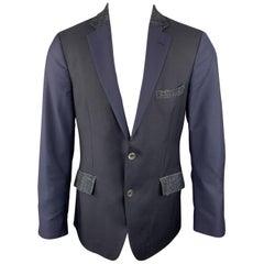 ETRO 38 Navy Mixed Fabrics Wool Blend Notch Lapel Sport Coat