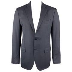 ERMENEGILDO ZEGNA 42 Long Navy Solid Wool Notch Lapel Sport Coat