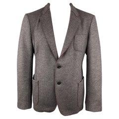 ARMANI COLLEZIONI 44 Grey Solid Wool Blend Notch Lapel Jacket