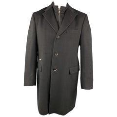 CORNELIANI ID 44 Black Solid Wool Notch Lapel Coat