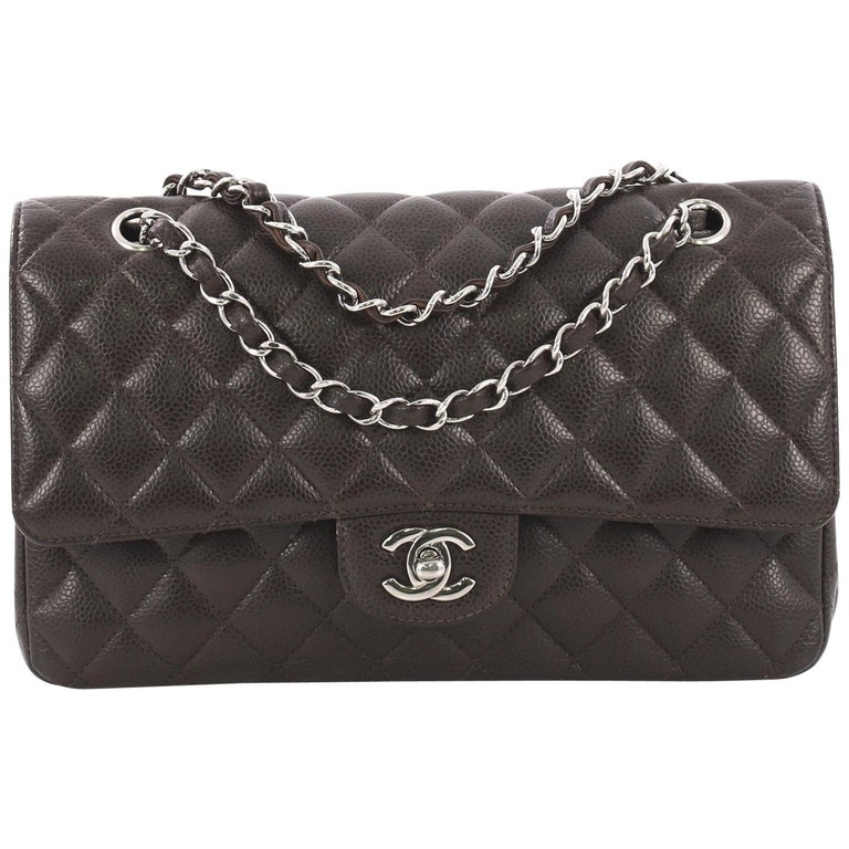 Chanel Vintage Classic Double Flap Bag Quilted Caviar