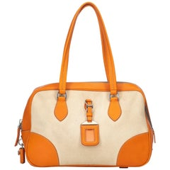 Prada Brown  with Orange Canvas Fabric Canapa Handbag Italy w/ Padlock