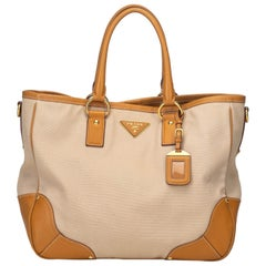 Prada Brown Beige Canvas Fabric Canapa Tote Bag Italy