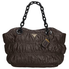 Prada Brown Dark Brown Nappa Leather Leather Gathered Chain Tote Italy