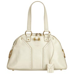 YSL White Ivory Leather Muse Handbag France